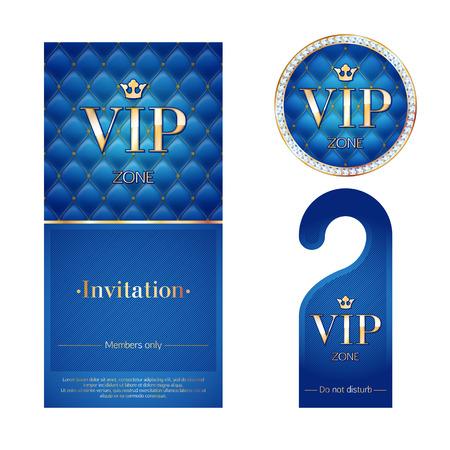 VIP-zone leden premium uitnodigingskaart, waarschuwing hanger en rond label badge. Blauw en gouden ontwerp sjabloon set. Gewatteerde dexture, diamanten en metaal. Stock Illustratie