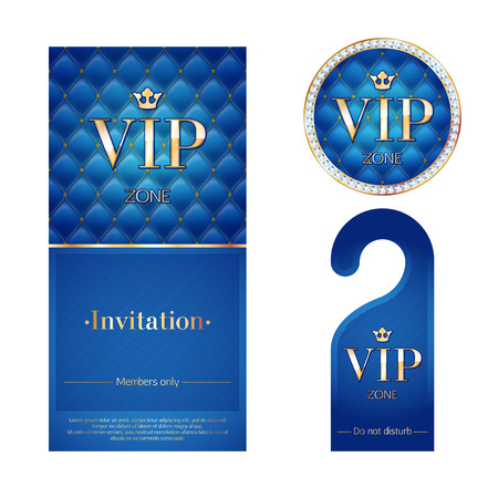 vip badge: VIP zone members premium invitation card, warning hanger and round label badge. Blue and golden design template set. Quilted dexture, diamonds and metal. Illustration