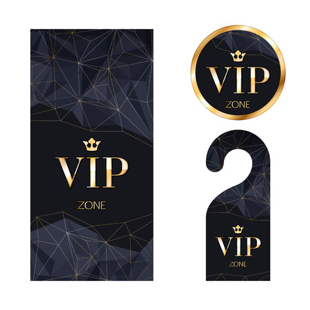 VIP zone members premium invitation card, warning hanger and round label badge. Black and golden design template set. Faceted mosaic texture.