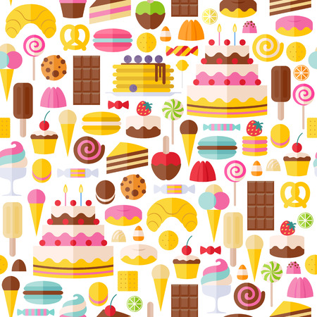 Sweet food icons seamless pattern. Candy, sweets, lollipop, cake, donut, macaroon, ice cream, jelly background.