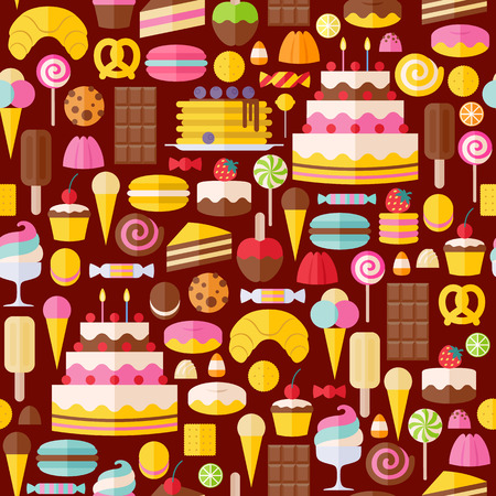 macaroon: Sweet food icons seamless pattern. Candy, sweets, lollipop, cake, donut, macaroon, ice cream, jelly background.