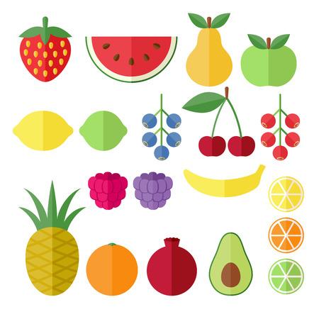 fresa: Conjunto de frutas y bayas iconos planos. Fresa, Vectores