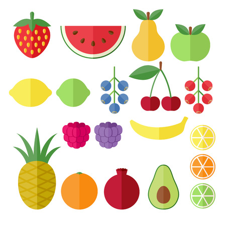 Set of fruits and berries flat icons. Strawberry,