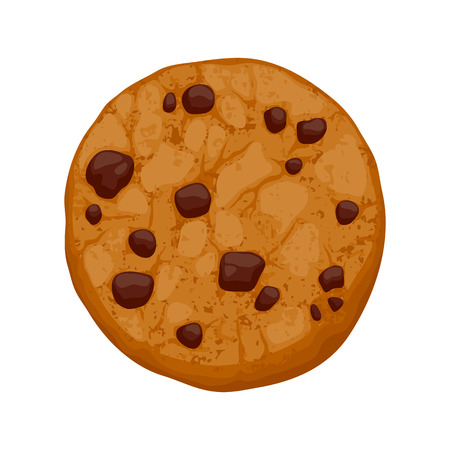 chocolate chip: Chocolate chips cookie vector illustration. Sweet food baking icon.