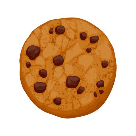 Chocolate chips koekje vector illustratie. Zoet voedsel bakken icoon. Stock Illustratie