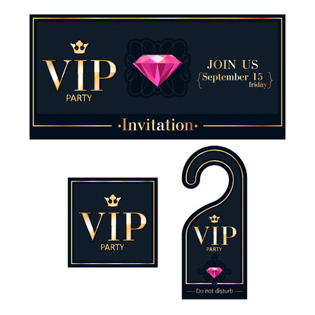 vip badge: VIP party premium invitation card, warning hanger and square label badge. Black and golden design template set. Diagonal dexture, pink ruby and metal.