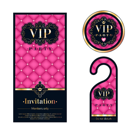 VIP party premium invitation card, warning hanger and round label badge. Pink, black and golden design template set. Quilted dexture, diamonds, vignettes and metal.