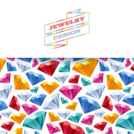 gemstones: Colorful diamond gemstones background with mosaic ribbon. Jewelry invitation postcard design.