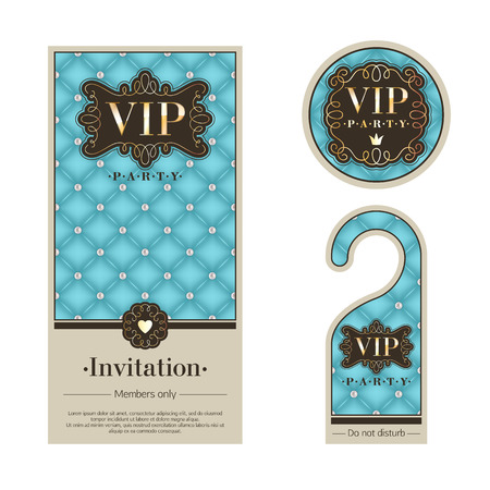 VIP party premium invitation card, warning hanger and round label badge. Turquoise, beige and golden design template set. Quilted texture, pearls, vignettes and metal.