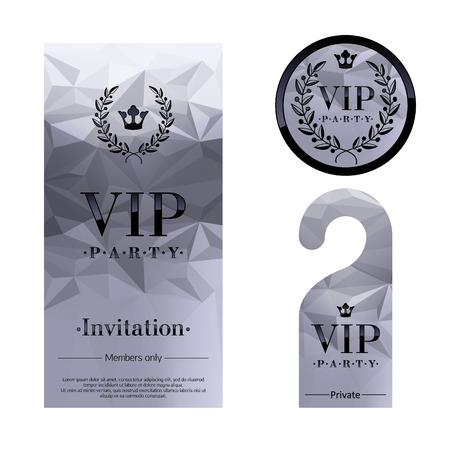 vip badge: VIP party premium invitation card, warning hanger and round label badge. Silver faceted mosaic design template set. Laurel wreath and crown.