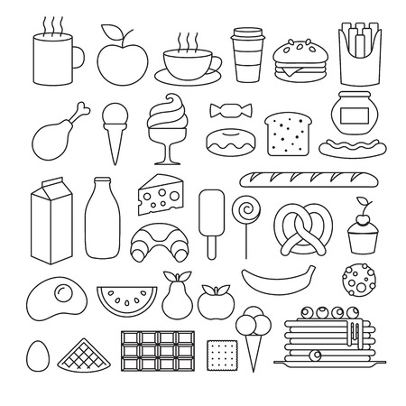 Set of different food icons outline style. Sweets, dairy, pastry, drinks, fruits. Vector