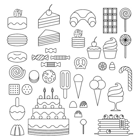 Set of sweet food icons outline style. Candy, sweets, lollipop, cake, donut, macaroon, ice cream, jelly. Vector
