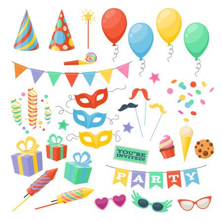 祭: お祝いパーティーのカーニバルのお祝いアイコンを設定します。カラフルなシンボル - 帽子、マスク、ギフト、バルーン。