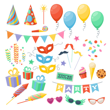 compleanno: Celebrazione festa di carnevale icone di festa impostate. Simboli colorati - cappello, maschera, regali, palloncino.