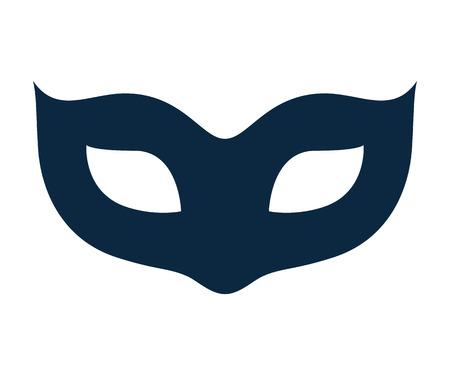 antifaz de carnaval: En blanco máscara de carnaval ilustración icono de plantilla. Símbolo de la mascarada del partido. De color negro, estilo plano.