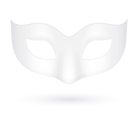 Blank realistic white carnival mask icon template illustration. Party masquerade symbol. Vector