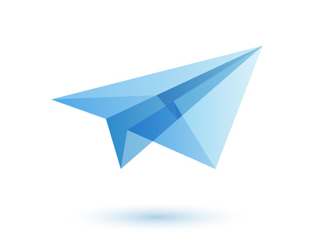 Paper plane icon design idea. Origami toy symbol. Transparent modern style illustration. Travel fly icon.