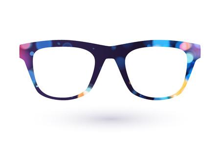 カラフルなメガネ フレーム アイコンのシンボル。ボケ味を持つ暗いバック。