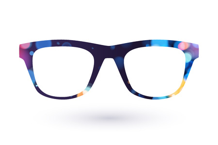 Colorful glasses frame icon simbol. Dark back with bokeh.