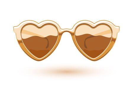 eye wear: Heart shaped golden metallic sunglasses illustration. Eye wear icon design. Love symbol. Illustration