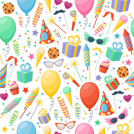 Celebration party carnival festive icons seamless pattern. Colorful symbols - hat, mask, gifts, balloon. Иллюстрация