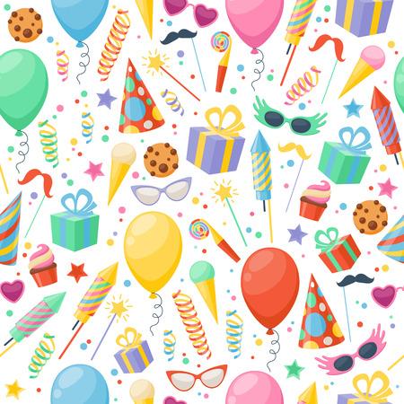 Celebration party carnival festive icons seamless pattern. Colorful symbols - hat, mask, gifts, balloon. Illusztráció
