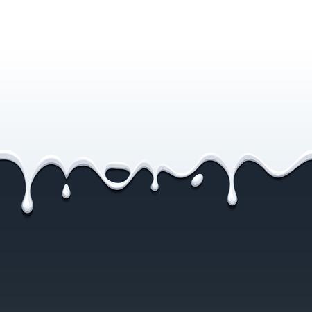 Dripping white milk, cream, paint yogurt on black back. Vector illustration.