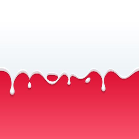dripping paint: Dripping white milk, cream, paint yogurt on red back. Vector illustration.