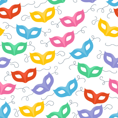 masquerade masks: Colorful masquerade carnival masks seamless pattern. Party background.