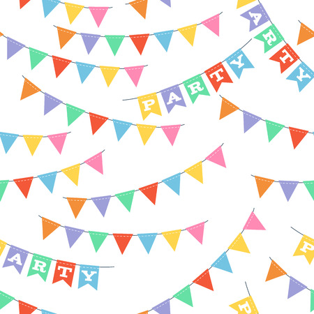 baclground: Colorful party  triangle flags seamless pattern. Celebration baclground. Illustration