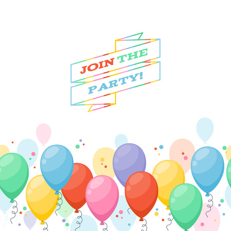 party balloons: Colorful balloons party invitation background. Simple cartoon style. Illustration
