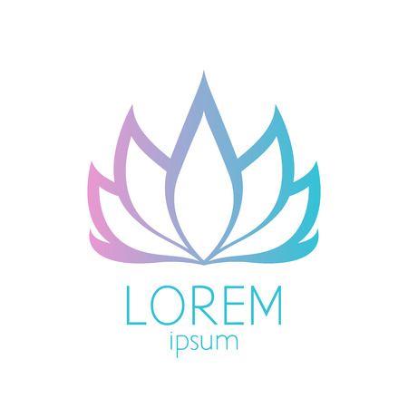 white lotus flower: Beautiful pink and turquoise lotus flower logo template sign. Good for spa, yoga and medicine designs.
