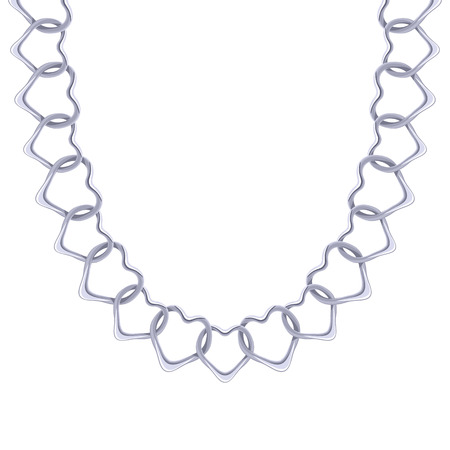 personal accessory: Chunky chain silver metallic necklace or bracelet. Personal fashion accessory design. Illustration