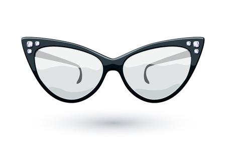 eye wear: Cat eye black retro glasses with diamonds gemstones illustration. Eye wear logo design.