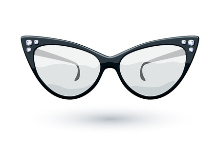 eye wear: Negro retro ojo de gato copas con diamantes gemas ilustraci�n. Lentes de dise�o del logotipo.