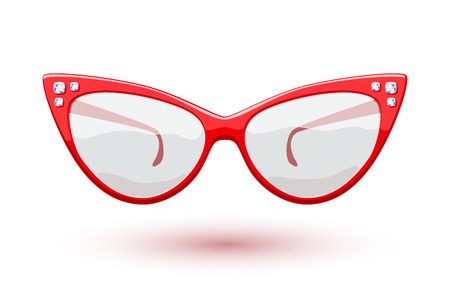 Cat eye red retro glasses with diamonds gemstones illustration. Eye wear logo design.