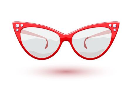 Cat eye red retro glasses with diamonds gemstones illustration. Eye wear logo design.