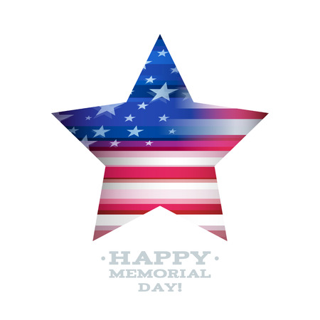 memorial day: USA national celebrations banner design with star and flag. Memorial Day patriotic american symbol.