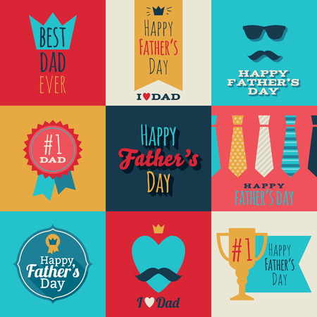 best dad: Happy fathers day vintage retro badges set. Flat style vector illustration.