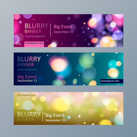 green and purple: Set of colorful blurry bokeh web site banners templates.