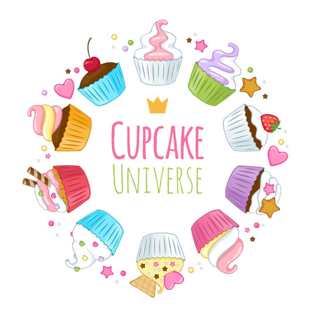 Sweet cupcakes background. Colorful illustration. Good for menu catalogue cover design. Illustration