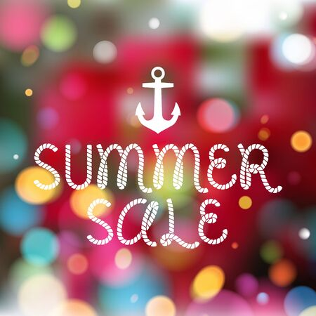 spring message: Colorful blurry background with anchor and rope style message - summer sale. Summer, spring holiday design.