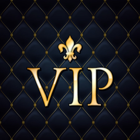 royals: VIP abstract quilted background, golden letters with royal lily.