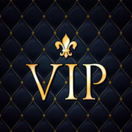 VIP abstracte gewatteerde achtergrond, gouden letters met koninklijke lelie. Stock Illustratie