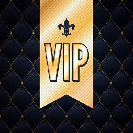 vip: VIP abstract quilted background, ribbon and golden letters with royal lily. Illustration