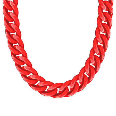 chunky: Chunky chain plastic red necklace or bracelet. Personal fashion accessory design.