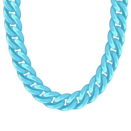 chunky: Chunky chain plastic turquoise necklace or bracelet. Personal fashion accessory design. Illustration