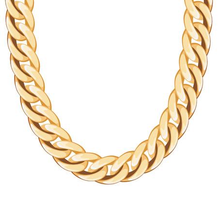 땅딸막 한 체인 황금 금속 목걸이 또는 팔찌. 개인 패션 액세서리 디자인.