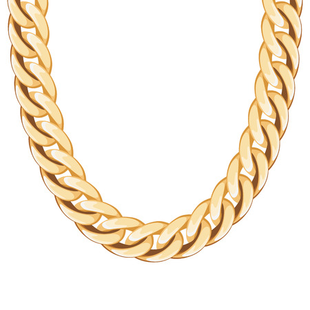 chain link: Chunky chain golden metallic necklace or bracelet. Personal fashion accessory design.