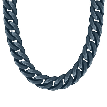 Chunky chain plastic black necklace or bracelet. Personal fashion accessory design. Illustration